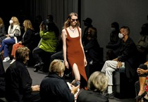 Models present creations by Italian brand DROMe (ANSA)